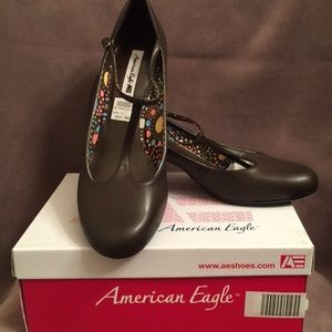 American Eagle Brown Mary Janes 12M